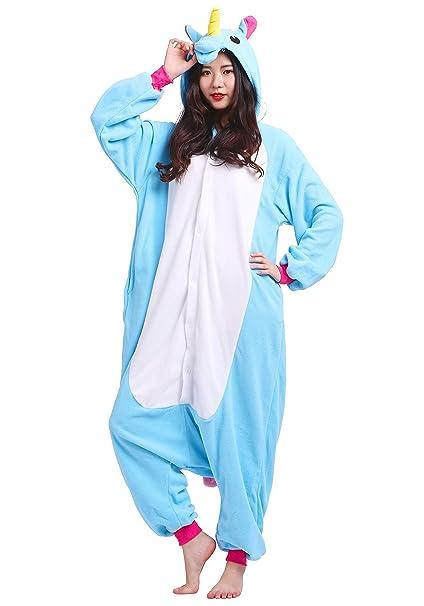 Kigurumi Pijama Animal Entero Unisex para Adultos con Capucha Cosplay Pyjamas Unicornio Azul Ropa de Dormir
