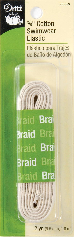 Dritz 9385N Cotton Swimwear Braided Elastic 1//4-Inch by 3-Yard Natural