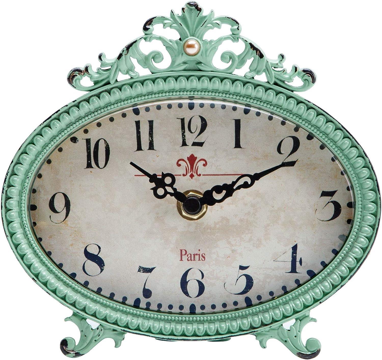 NIKKY HOME Reloj de Mesa con diseño Vintage de Cuarzo analógico para Oficina y Estante o para baño, de Metal Verde
