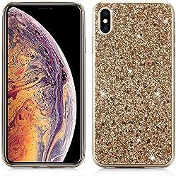 Girlscases® | iPhone XR Hülle Glitzer Schutzhülle mit Muster aus Silikon | Diamant/Glitter / Strass Rückseite/Motiv Glänzend | Farbe: Gold Glitzer