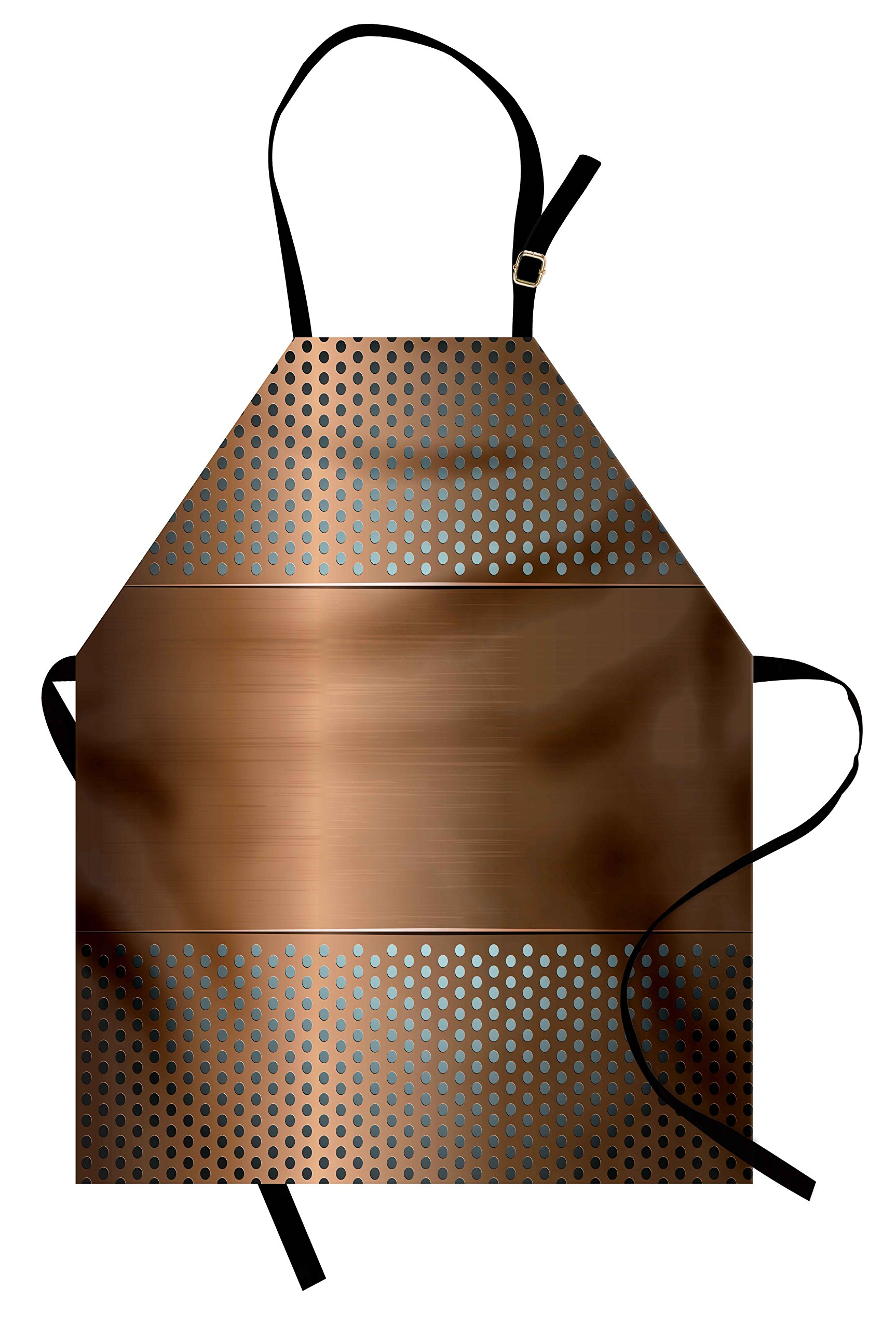 Ambesonne Industrial Apron, Perforated Grid Plate Steel with Dots Illustration Futuristic Technology Theme, Unisex Kitchen Bib Apron with Adjustable Neck for Cooking Baking Gardening, Ombre Bronze