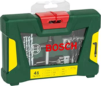 Bosch 41 Piece V-Line Drill Bit and Screwdriver Bit Set with Angle Driver (For Wood, Masonry, and Metal)