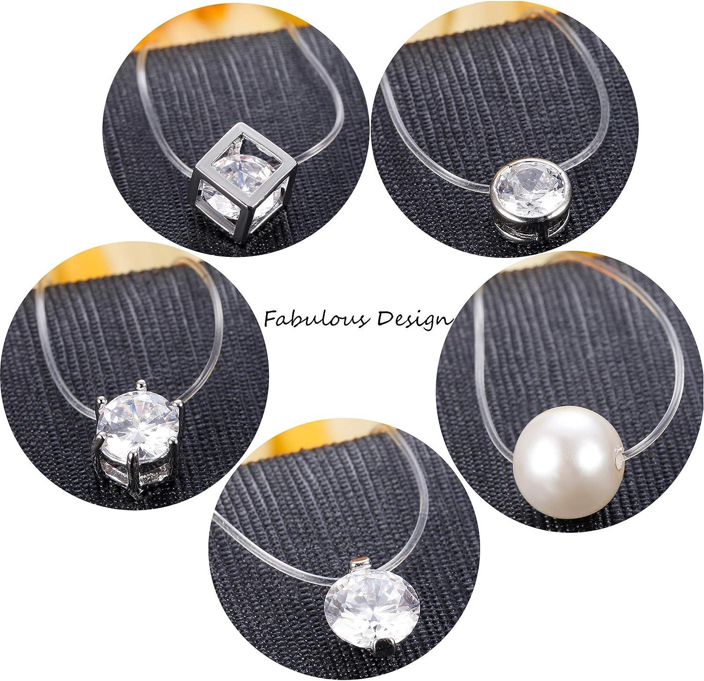 Fil Nylon Transparent Oxyde de /él/égant Solitaire Zirconium et Perle Milacolato Pendentif Collier Fil Magique pour Femme Fille V/éritable