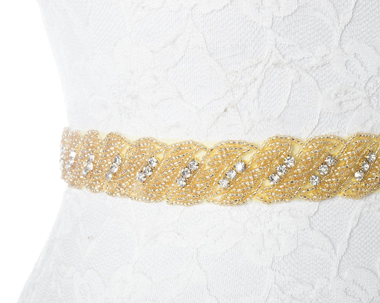 Redowa Thin Rhinestone Beaded Wedding Dress Bridal Sash Belt Gold