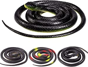 Whaline 4 Pieces Halloween Realistic Rubber Snakes Scary April Fools Decoration Fake Black Snake for Garden Props to Scare Birds, Squirrels, Mice, Pranks (2 Sizes, 52 Inch, 31.5 Inch)