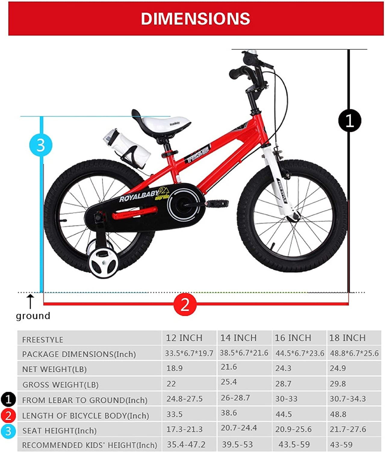 12 14 16/inch/with/Training/Wheels,/16 18 20/inch/with/Kickstand RoyalBaby/Freestyle/Kid/'s/Bike for Boys/and/Girls Renewed in/Multiple Colors