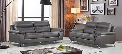 Cortesi Home CH-3CHICAGO2032+2CHICAGO2032 Chicago Leather Sofa & Loveseat  Set Sofa + Loveseat Dark Grey