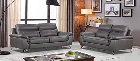Brilliant Cortesi Home Ch 3Chicago2032 2Chicago2032 Chicago Leather Sofa Loveseat Set Sofa Loveseat Dark Grey Alphanode Cool Chair Designs And Ideas Alphanodeonline