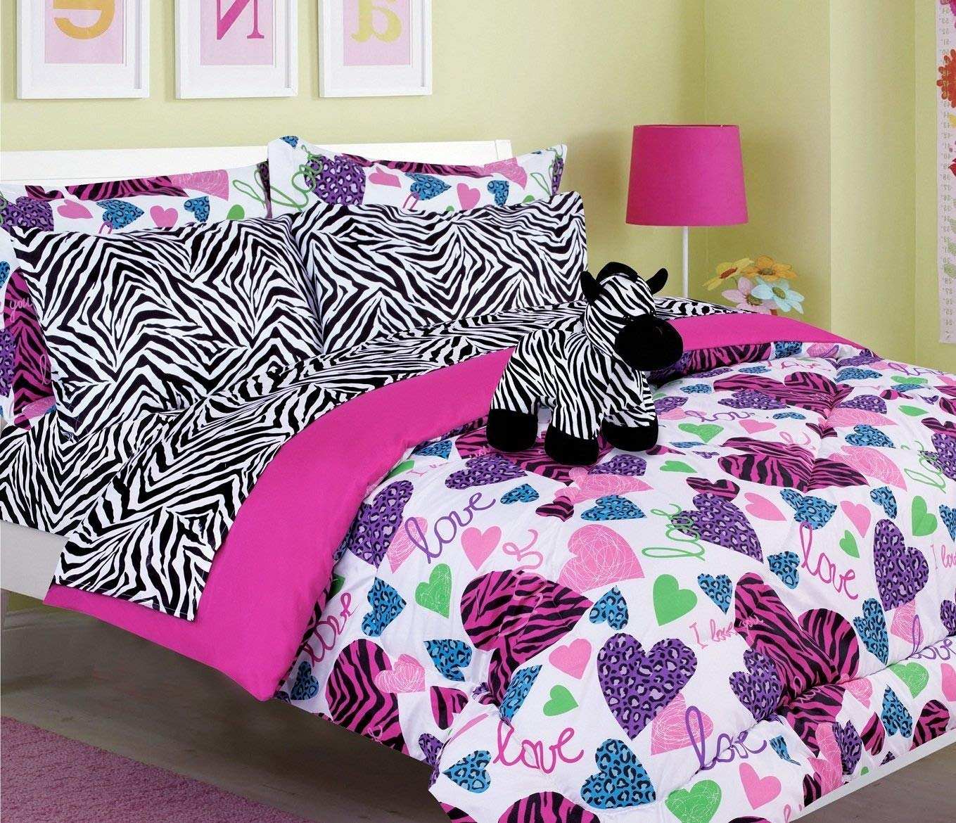 Girls Kids Bedding-MISTY ZEBRA Tween Teen Dream Bed In A Bag. TWIN SIZE Comforter set, Sheet Set and Plush Toy Included-Love, Hearts-Hot Pink, Turquoise Blue, Purple, Black and White
