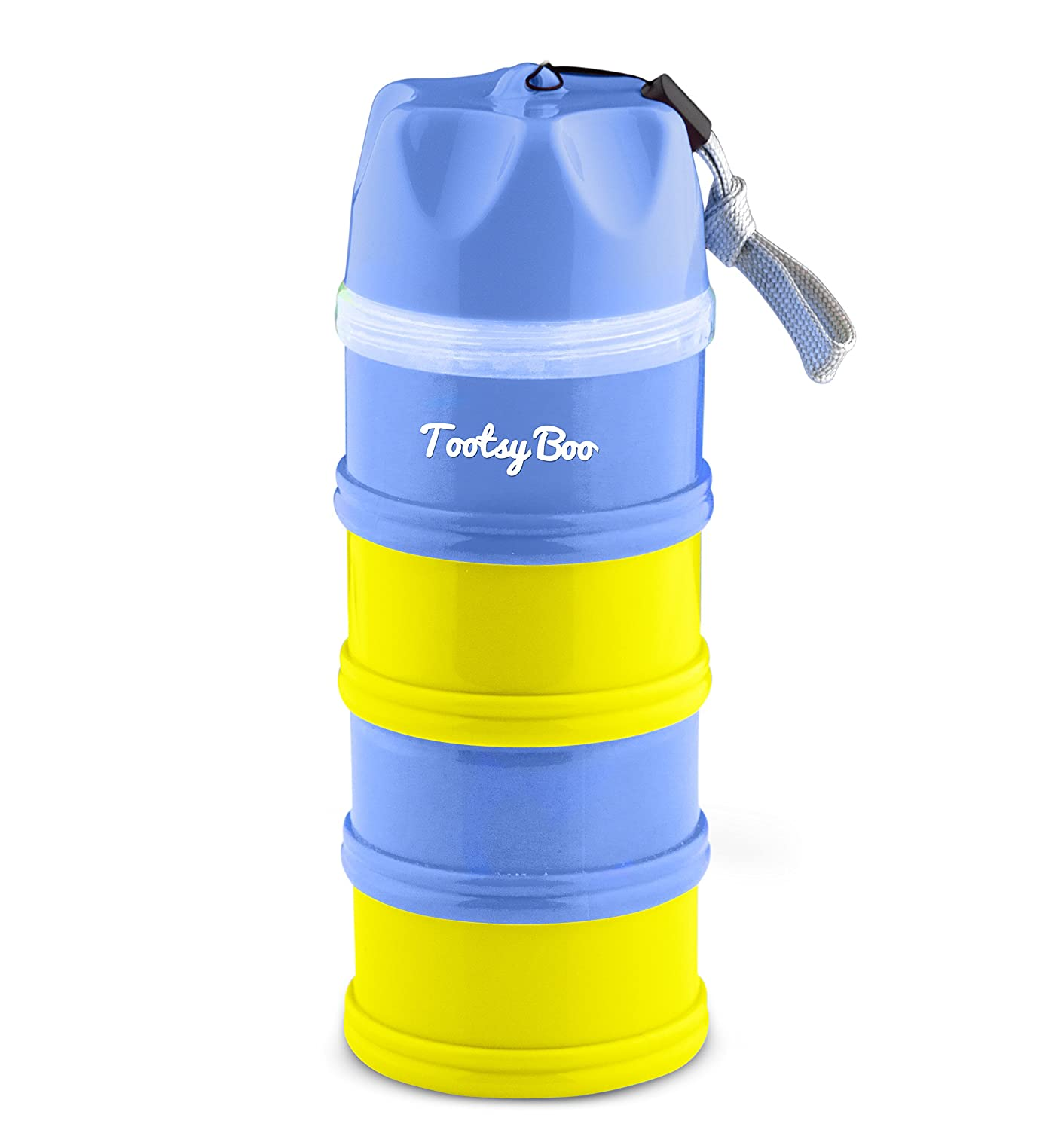 Tootsy Boo formula milk powder dispenser and snack container - 4 feeds, no powder leakage, 'strap on' to buggy handle for easy carry