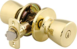 Brinks 2710-105 Mobile Home Keyed Entry Tulip Style Door Knob, Polished Brass