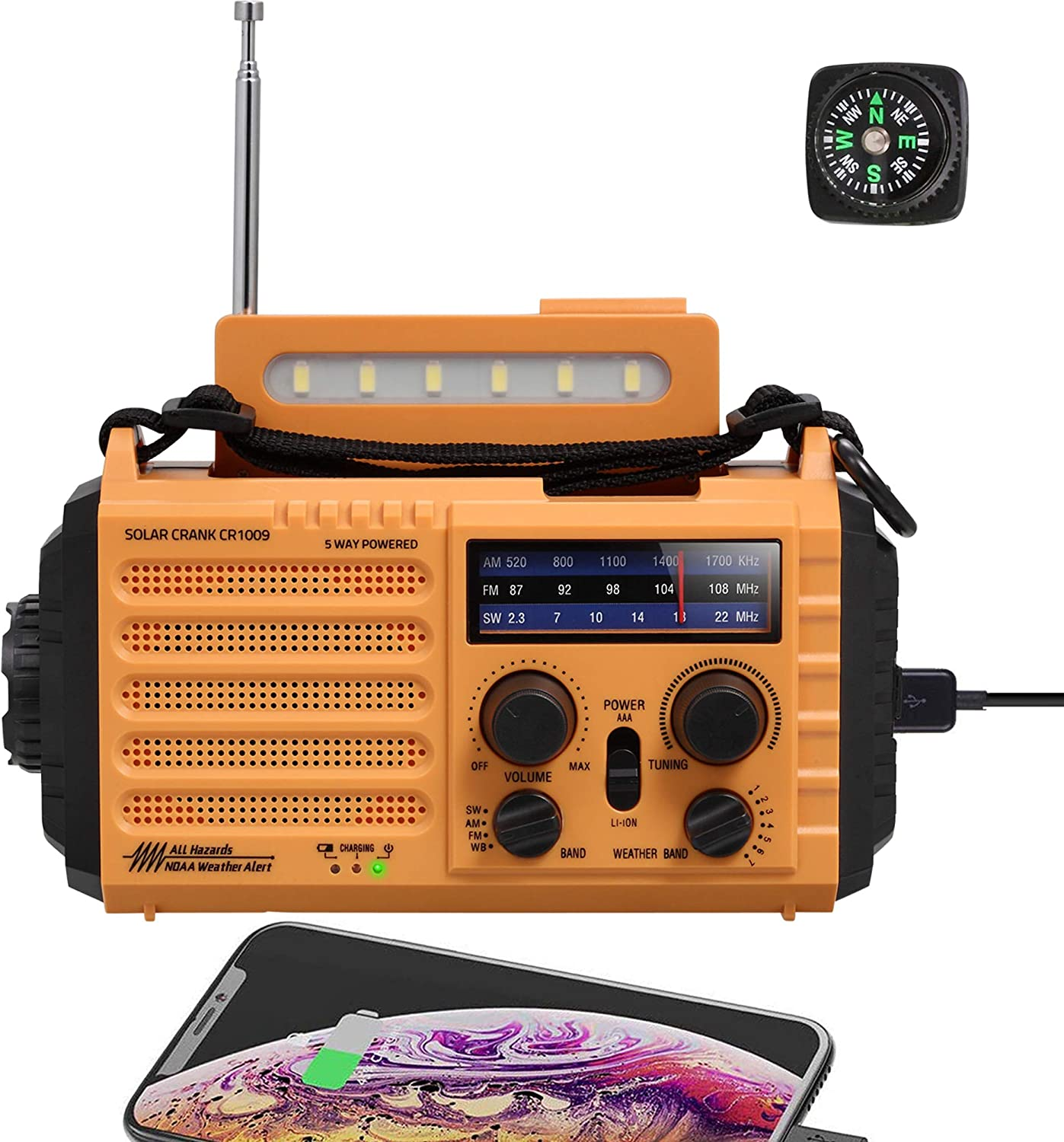 Emergency Solar Hand Crank AM/FM/SW/NOAA Weather Alert Battery Operated Portable Radio with Compass, 5W LED Flashlight, Reading Lamp, SOS Alarm, 2000mAh Power Bank for Cellphone Charger Home Camping