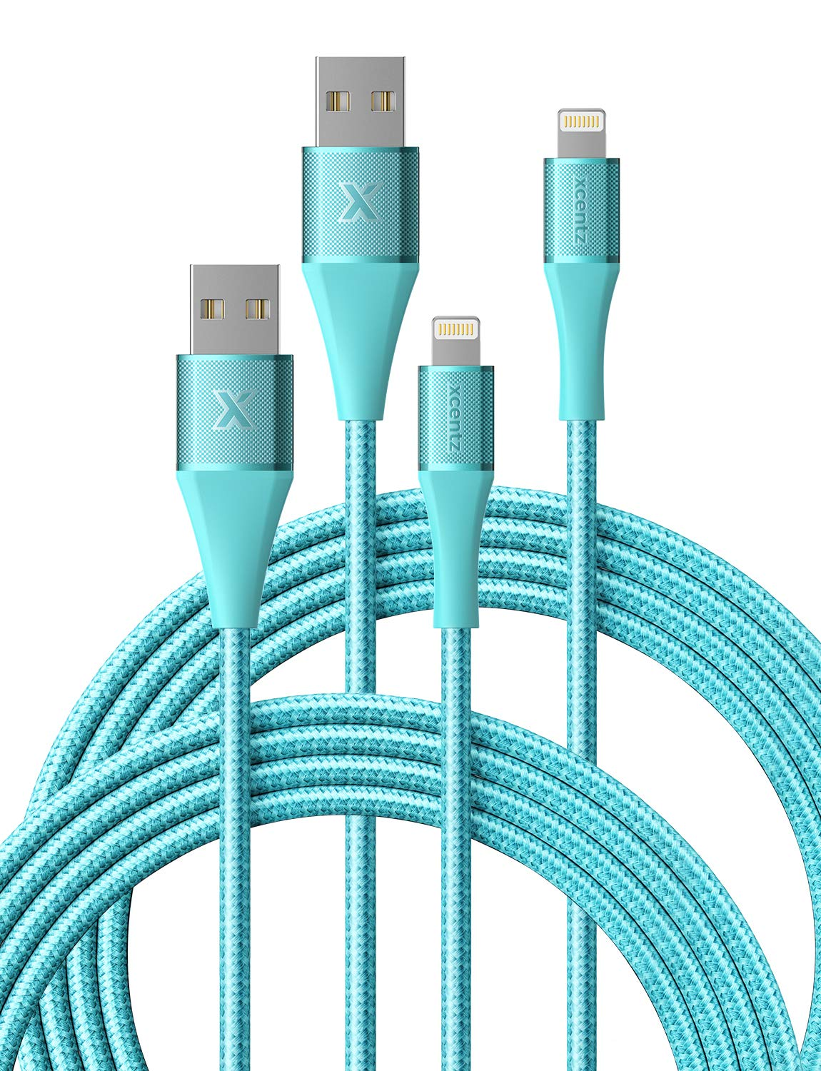 Xcentz iPhone Charger, (2 Pack, 6ft) Apple MFi Certified Lightning Cable High-Speed Braided Nylon iPhone Cable Premium Metal Connector for iPhone X/XS/XR/XS Max/8/7/6/5S/SE, iPad Pro/Mini/Air, Blue