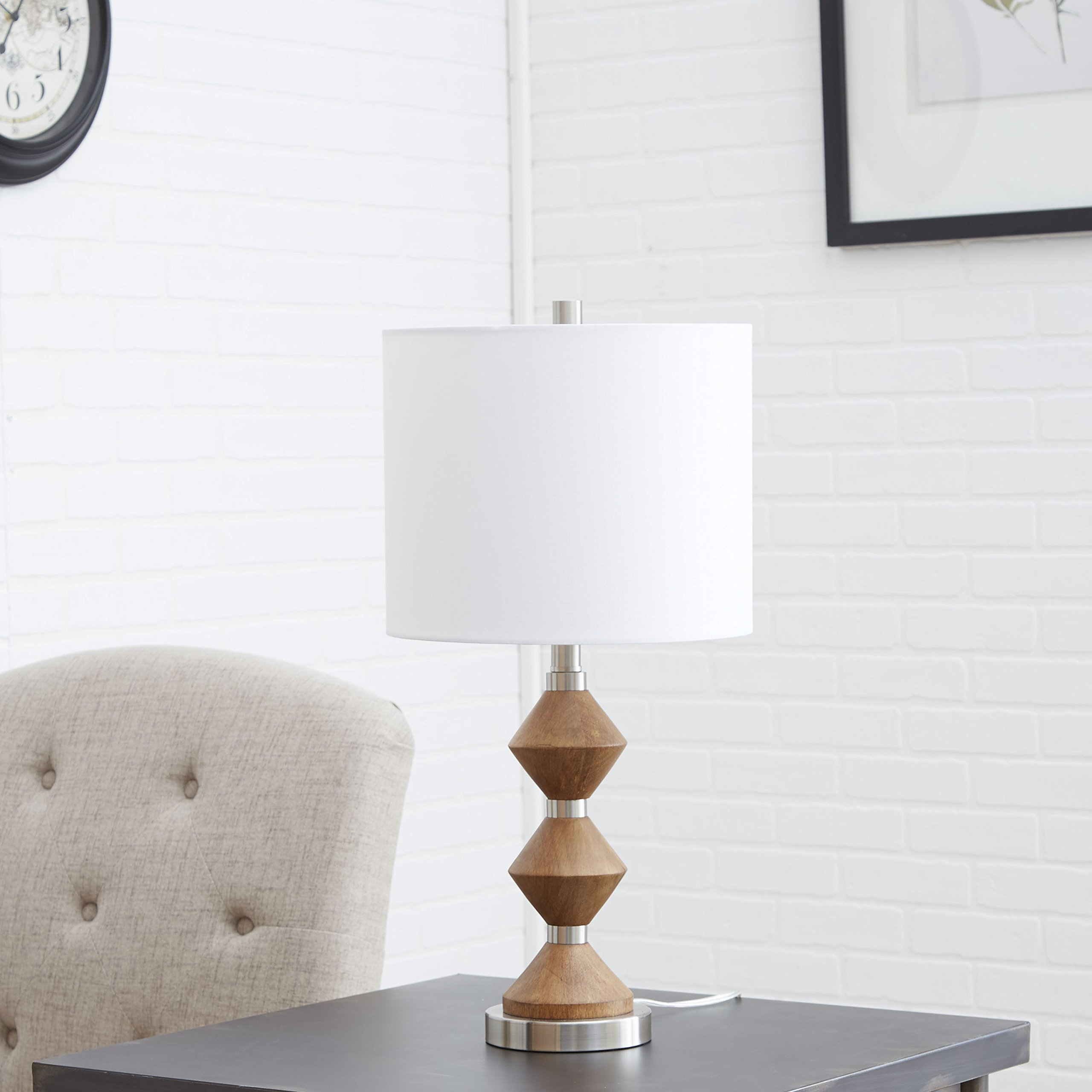 Silverwood CPLT1583 Table Lamp, 12 L x 12W x 25 H in, Natural Wood/Brushed Nickel Finish