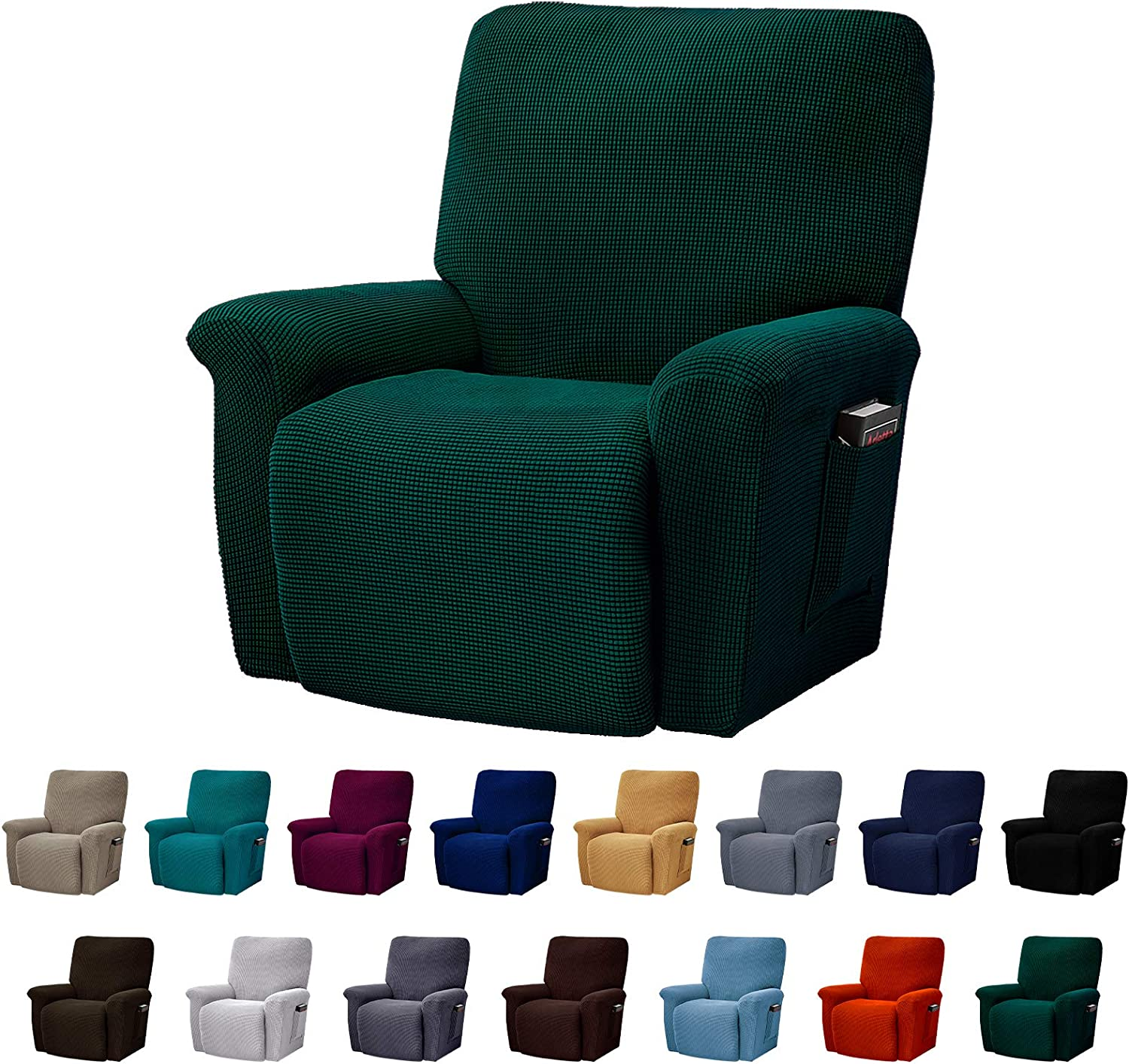 AlGaiety Stretch Recliner Slipcover Sofa Cover 4 Separate Pieces/1 Set Spandex Jacquard Fabric Furniture Protector Couch Cover with Elastic Bottom for Living Room(Recliner,Hunter)