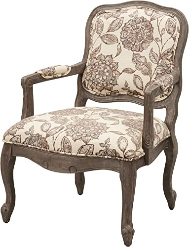 Madison Park Monroe Accent Chairs – Hand Carving Birch Wood Frame Deep Seat-Bedroom Lounge Modern Classic Camel Back Style Living Room Sofa Furniture, Ivory Floral