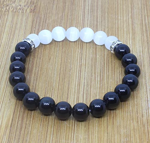 Natural Black Obsidian Crystal Bracelet-Chakra Healing Selenite Agate for Energy Balancing The Ultimate Powerful Protection /& Energy Bracelet By Orgonite Shop