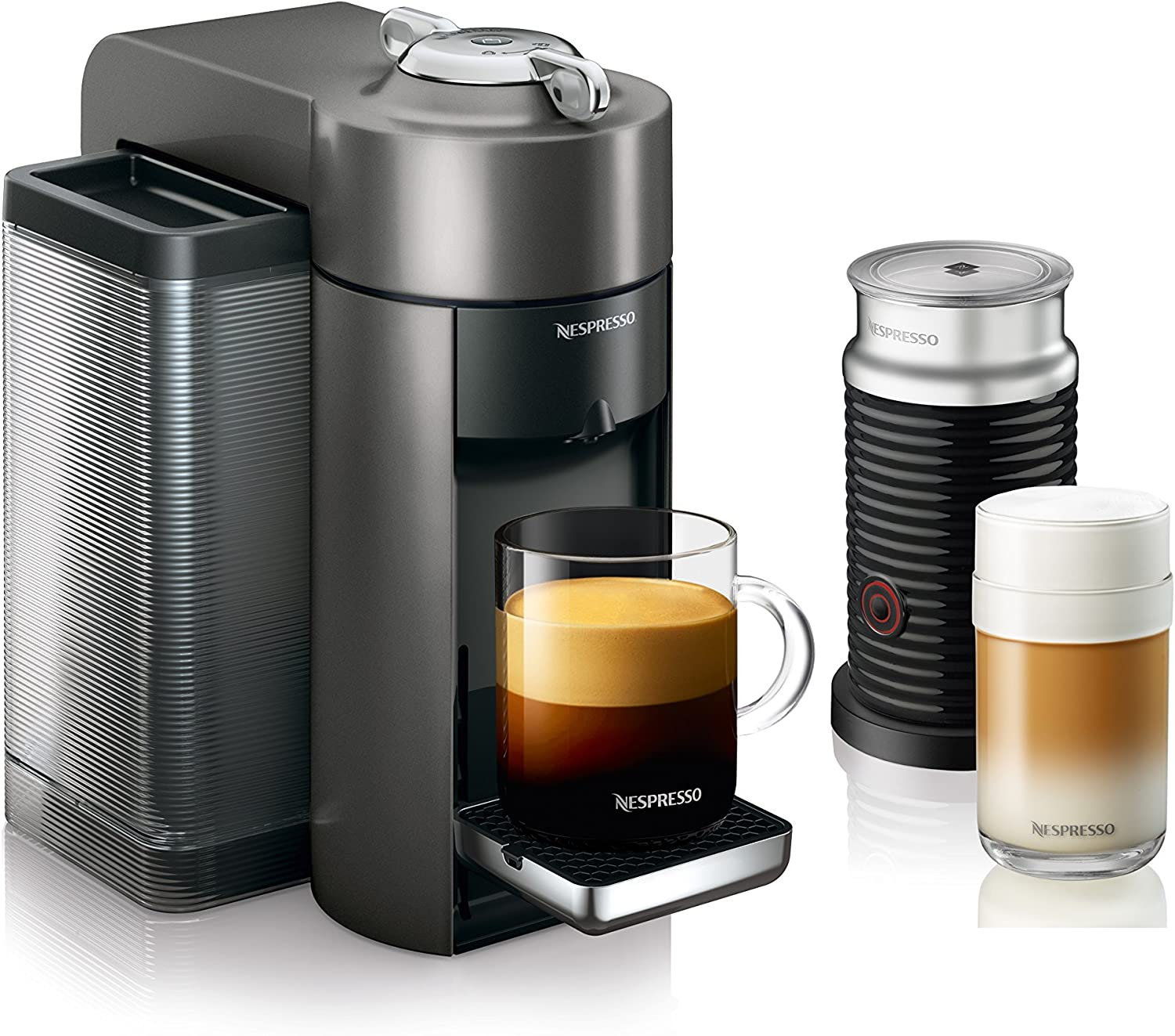 Nespresso by De Longhi ENV135GYAE Coffee and Espresso Machine Bundle with Aeroccino Milk Frother by De Longhi, Graphite Metal