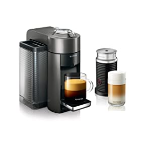 Nespresso Vertuo Evoluo Coffee and Espresso Machine with Aeroccino by De'Longhi, Graphite Metal