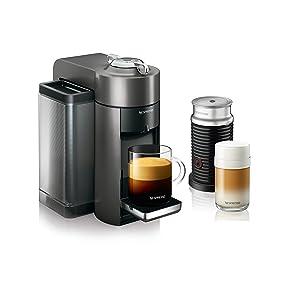 Nespresso Vertuo Evoluo Coffee and Espresso Machine with Aeroccino by De'Longhi, Graphite Metal