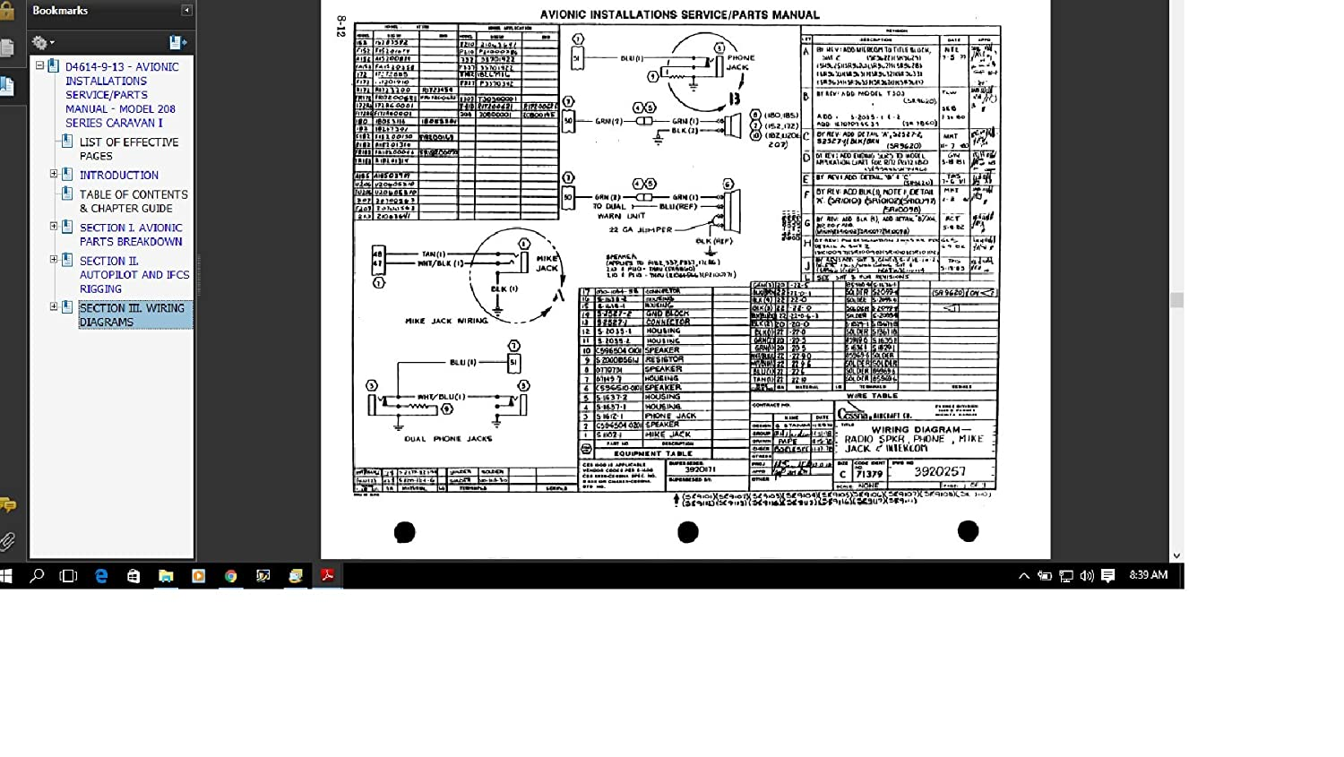 Cessna 208 Caravan Avionics Service Parts Manual Typical Wiring Diagram Library Everything Else
