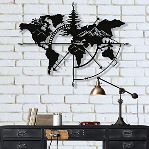 DEKADRON Metal World Map Wall Art World Map Mountains 3D Wall Silhouette Metal Wall Decor Home Office Bedroom Living Room Decoration Black, 55 W x 41 H 140×104 cm