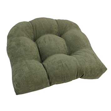 Blazing Needles U Shaped Microsuede Tufted Dining Chair Cushion, 19u0026quot;,  Sage Green