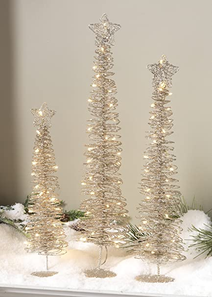 Pre-Lit Star Topped Spiral Christmas Trees Set of 3 Table Top Christmas Decorations