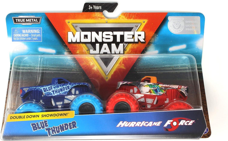 Monster Jam, Official Blue Thunder vs. Hurricane Force Die-Cast Monster Trucks, 1:64 Scale, 2 Pack