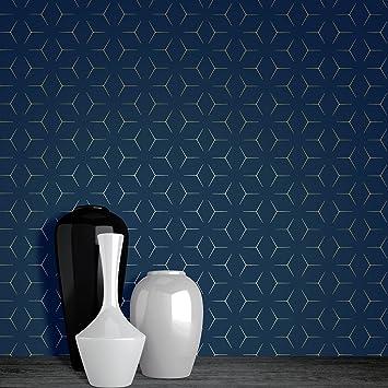 Papier Peint Metro Illusion Geometrique Bleu Marine Et Or Wow005