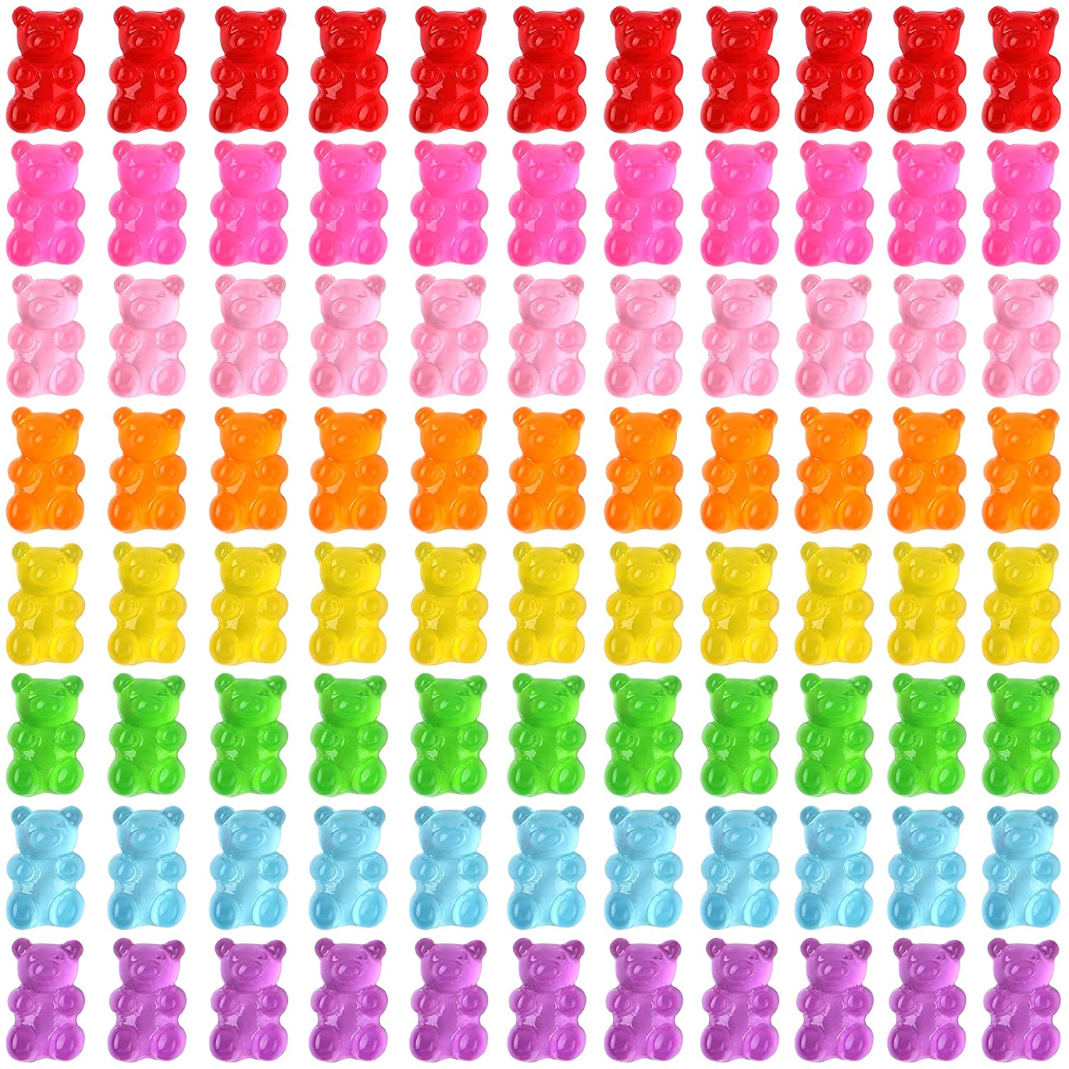 SANNIX 120 Pcs Candy Gummy Bear Charms Colorful Resin Fillers Charms Gummy Bears for Nail Art DIY Crafting Epoxy Resin Supplies Slime Jewelry Making Decoration
