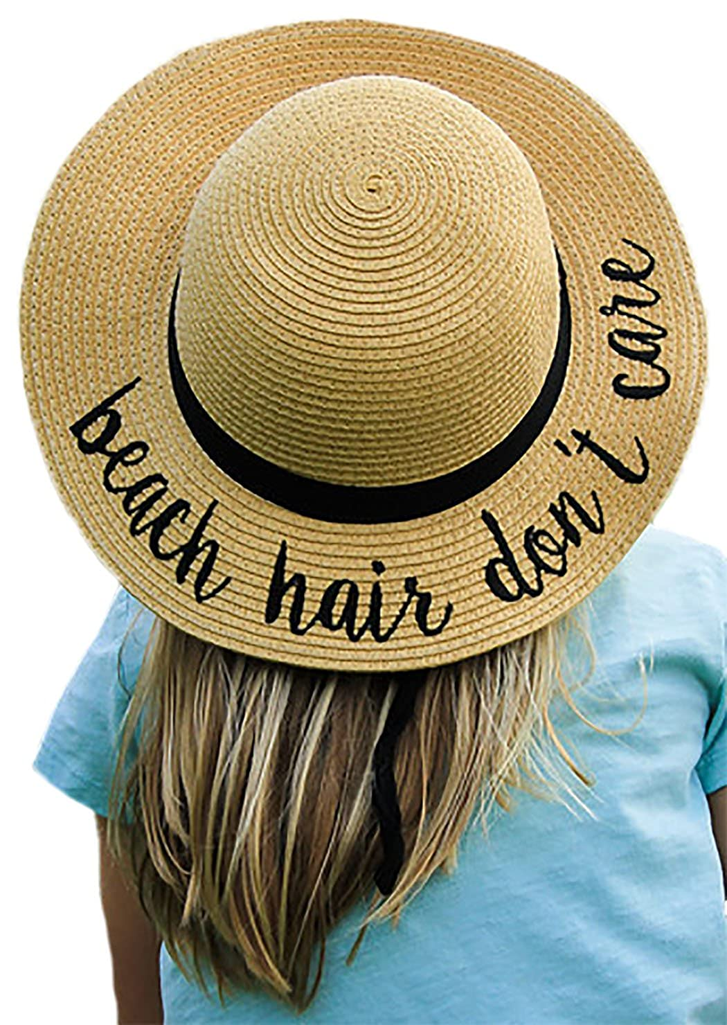 Funky Junque Girls Sun Hat Bold Cursive Embroidered Adjustable Beach Floppy