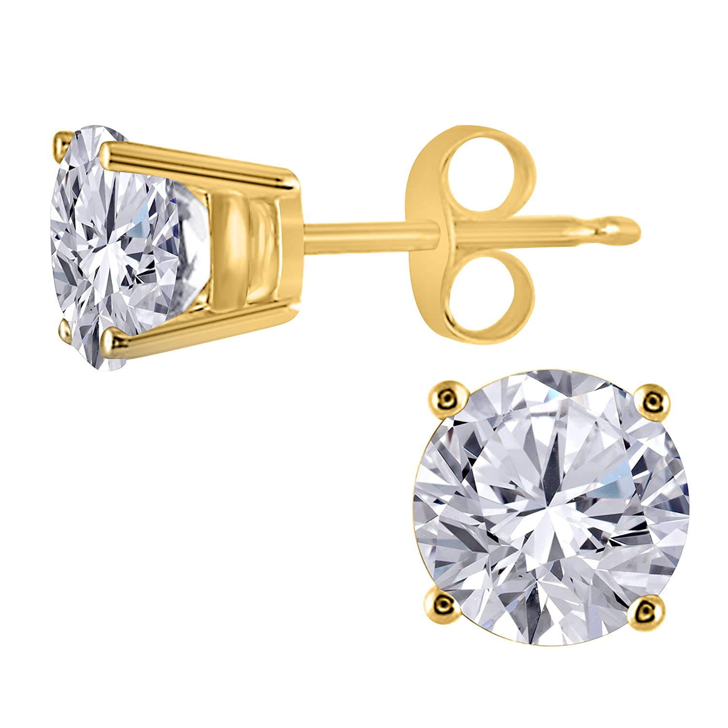 1.00 Ct Cute Belle Princess Princess Created Red Garnet Stud Earrings IN 14k White Gold Finish