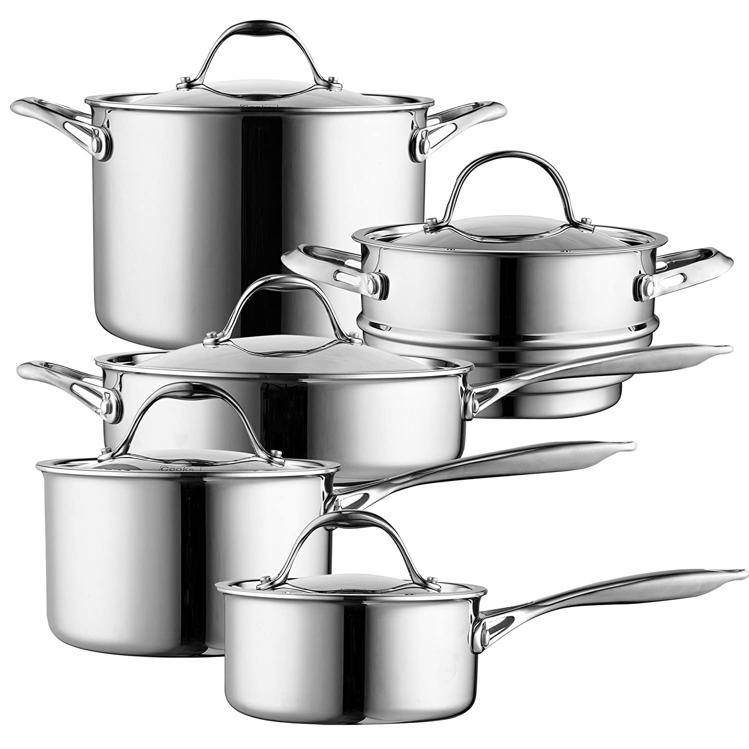 Stainless Steel 02459 Cooks Standard 10 Piece Multi-Ply Clad Cookware Set