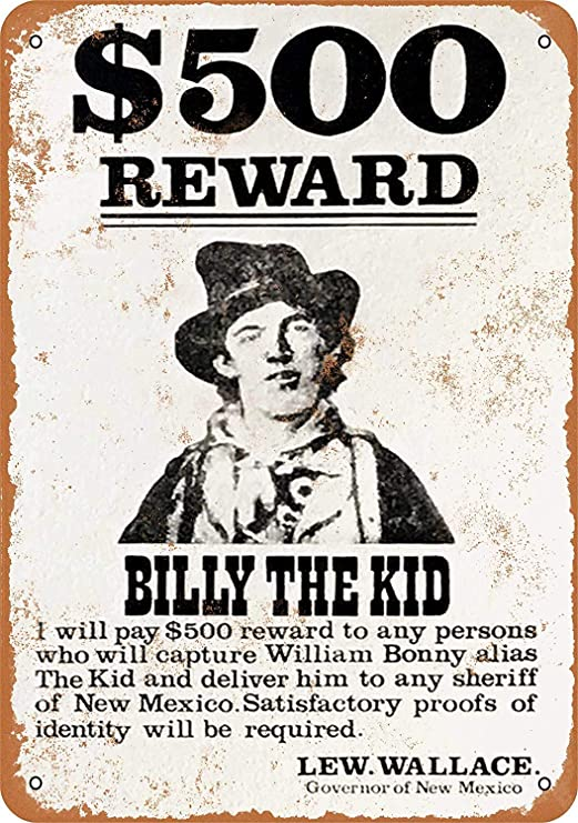 Wise Degree 78 Billy The Kid Wanted Poster Cartel de Metal ...