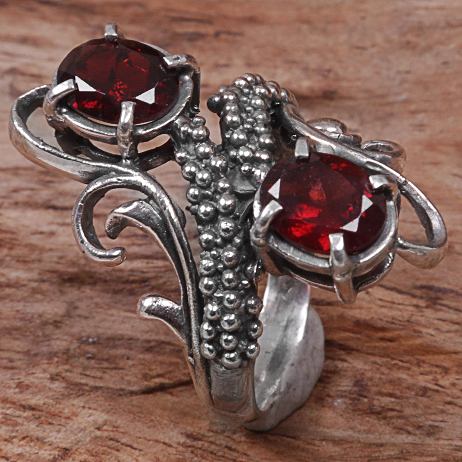 NOVICA Garnet .925 Sterling Silver Cocktail Ring Magical Union in Red