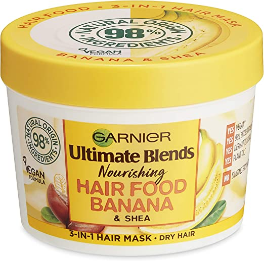 Garnier Hair Mask for Dry Hair | Banana Hair Food by Garnier Ultimate Blends, 3-in-1: Conditioner, Hair Mask, Leave-in Hair Conditioner | 98 Percent Natural Origin | 390 ml