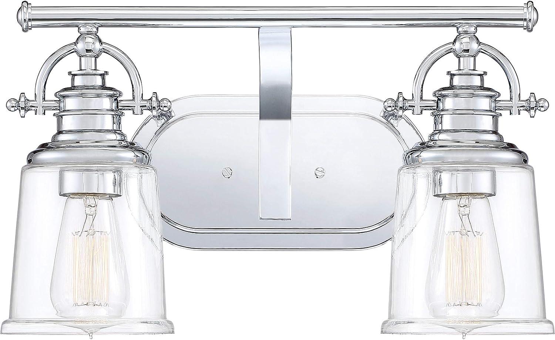Quoizel GRT8602C Grant Vanity Bath Lighting, 2-Light, 200 Watts, Polished Chrome 10 H x 16 W
