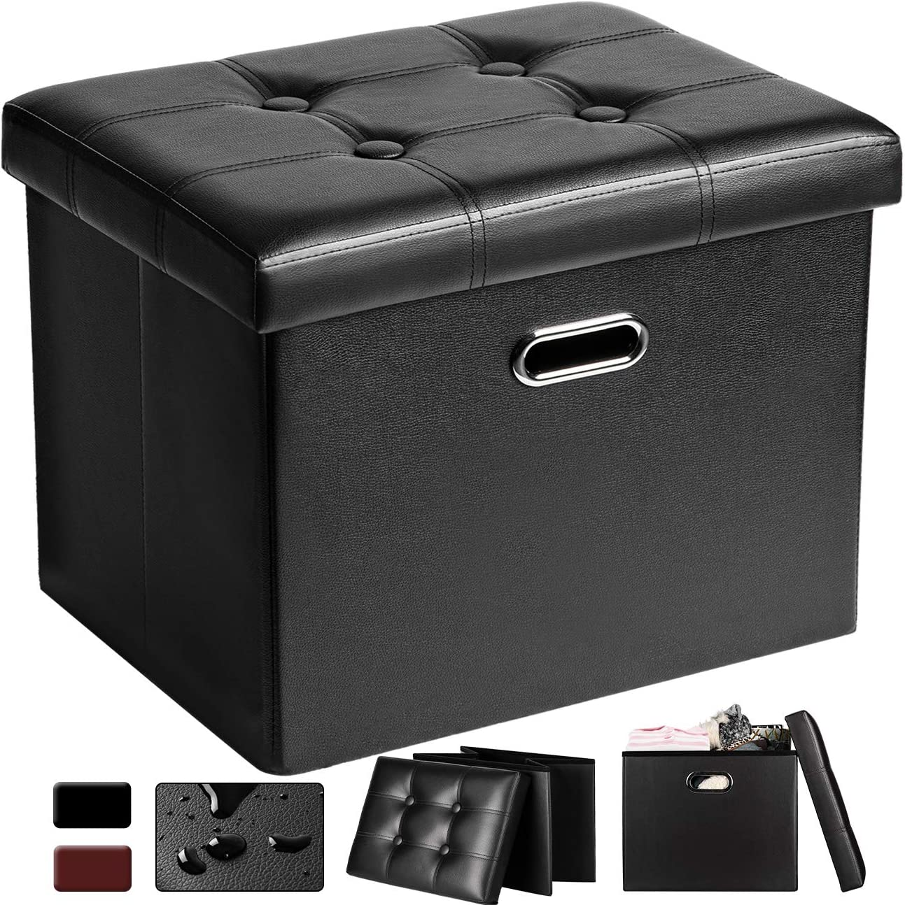 COSYLAND Ottoman with Storage Folding Leather Ottoman Footrest Foot Stool Black Ottoman for Room Small Rectangle Collapsible Bench Furniture with Handles Lid 17x15x13in