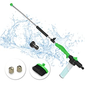 Brizer Hydro Jet Sprayer for High Pressure Power Washer Wand – 30 Inch + 9 Inch Long Extendable Sprayer, Hose Nozzle, for Car Washer, Window Water Cleaner, Glass Cleaning Tool, 2 Tips- Green 20psi