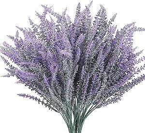 Faux Lavender Bundles 7 Piece,Lavender Wedding Decor,Fake Plants for Vase,Primitive Flowers for Decor Decorative Stems Purple Farmhouse Decor Kitchen Table Centerpieces Bathroom Silk Wild Flowers