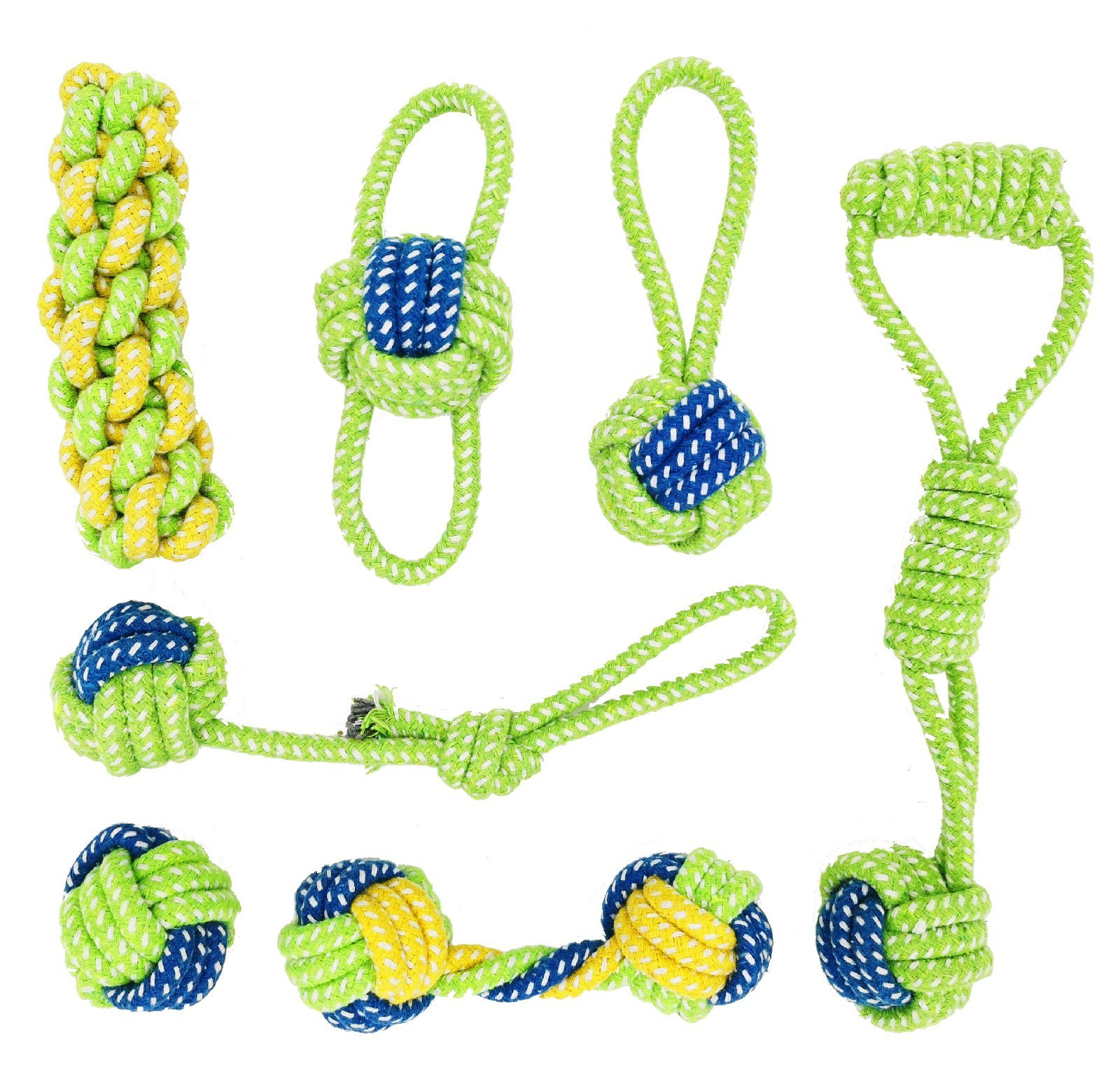 Banfeng Dog Rope Toys Set 7 Pack for Small Medium Dog, Premium Dog Chew Toys Interactive Cotton Rope Knot Toys and Dog Ball for Puppy Pet
