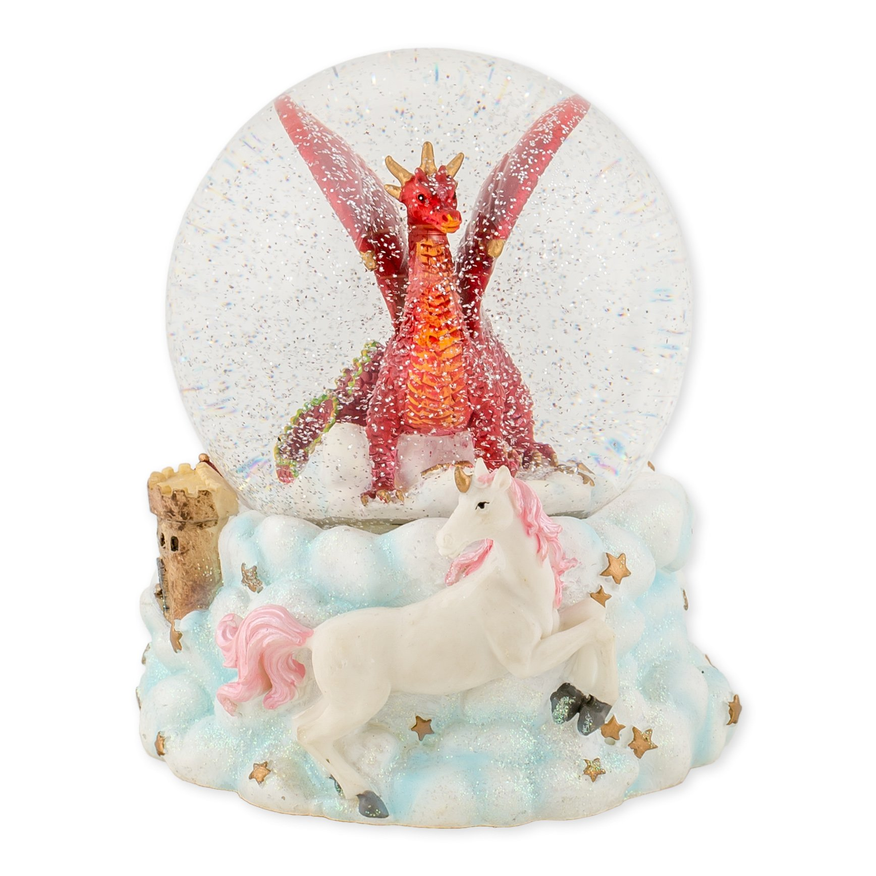 Red Dragon with Unicorn 100mm Resin Glitter Water Globe Plays Tune Jupiter Opus No. 4