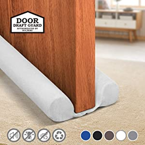 Holikme Twin Door Draft Stopper Weather Stripping Noise Blocker Window Breeze Blocker Adjustable Door Sweeps 34inch White