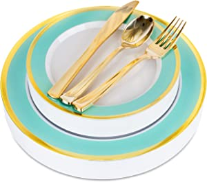 Mint and Gold Rim Plastic Dinnerware (125-Piece) Plastic Plates, Plastic Forks, Plastic Knives, Plastic Spoons - Service for 25 Guests Place Setting for Wedding, Party, Baby Shower, Birthday, Holiday