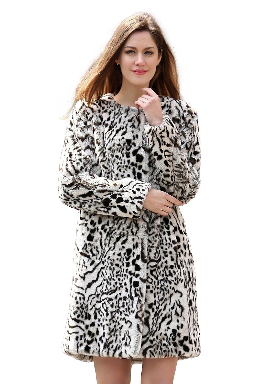 Adelaqueen Fabelhafter Kragenloser Winterstyle Leopardenmuster Faux Fur Damenmantel