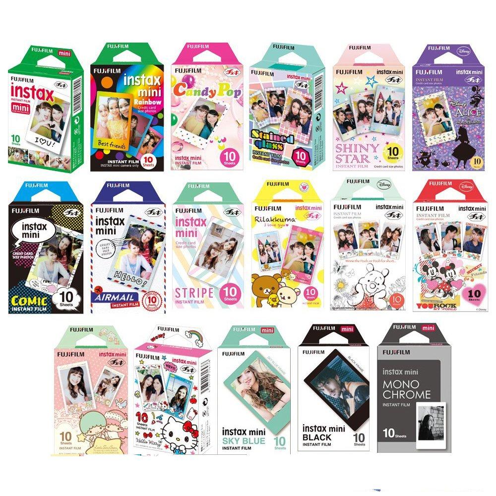 Fujifilm Instax Mini Instant Film 17 SET , Sky Blue , Black , Single , Monochrome , Candy pop , Stained Glass , Shiny Star , Rainbow , Comic , Airmail , Stripe , 6 Character + Sticker by Fujifilm