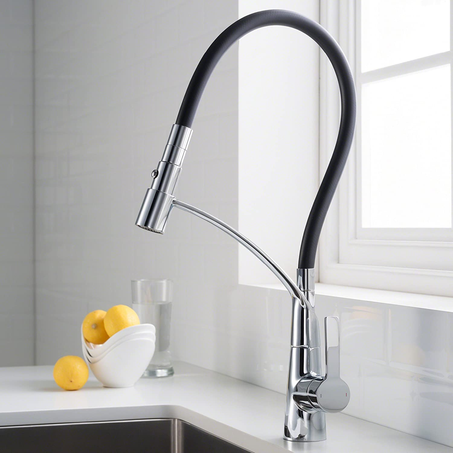 KRAUS CarboFlex Single Handle Dual Function Pull Out Kitchen Faucet with Flexible Black Sprayer Hose and Easy-Clean Silicone Nozzles in Chrome Finish