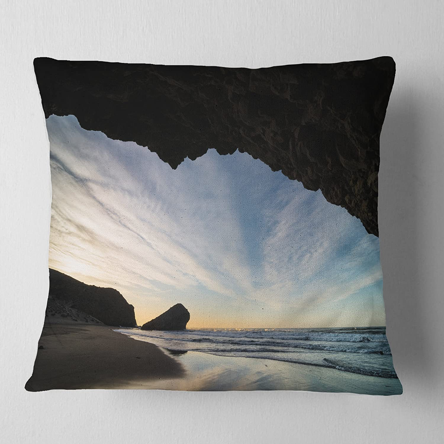 in Designart CU14782-16-16 Monsul Beach During Sunset Seashore Cushion Cover for Living Room Sofa Throw Pillow 16 in x 16 in Insert Printed On Both Side