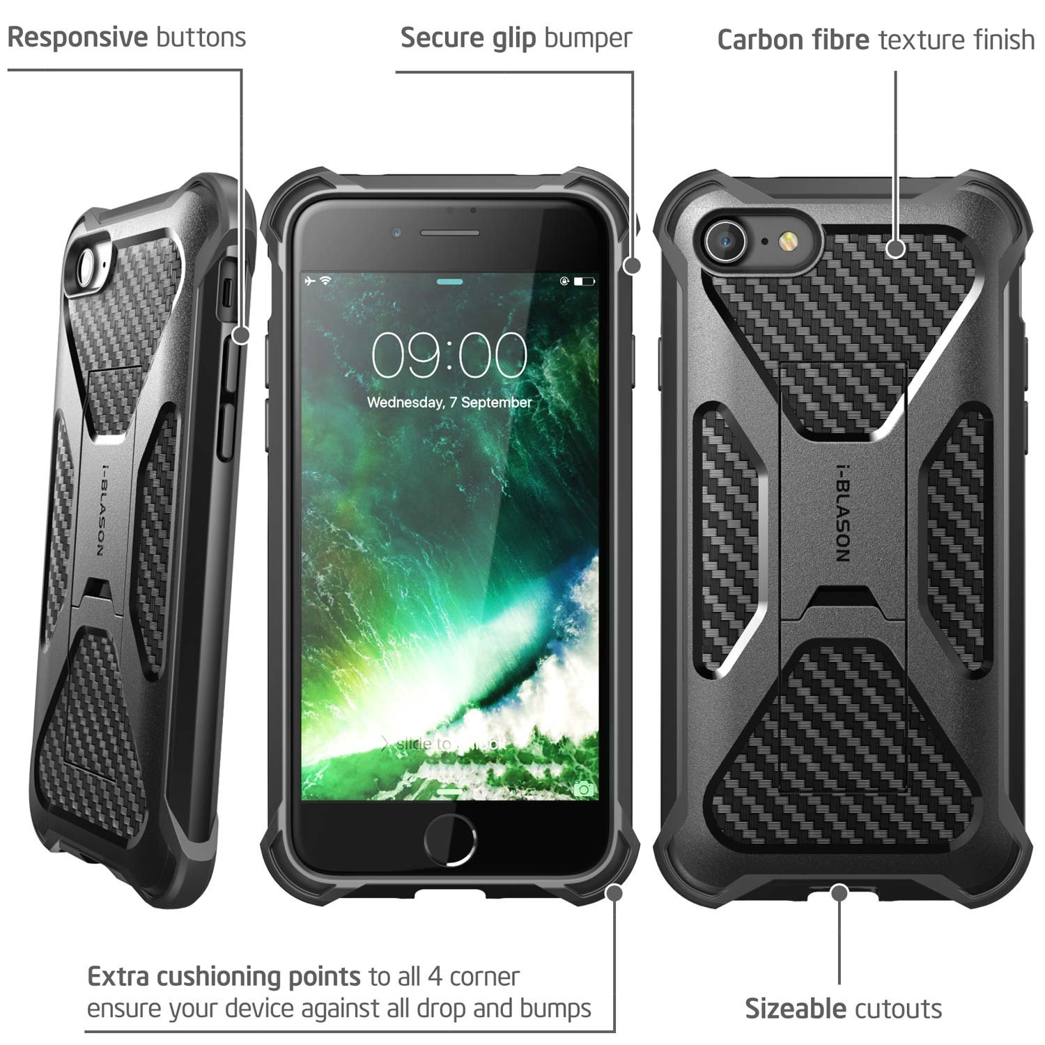 iPhone 7 Case, iPhone 8 Case, i-Blason Transformer [Kickstand] Apple iPhone 7/Apple iPhone 8 [Heavy Duty] [Dual Layer] Combo Holster Cover case with [Locking Belt Swivel Clip] (Black) by i-Blason (Image #2)